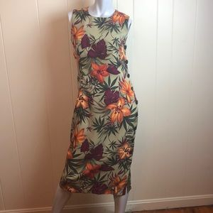 Vintage 80s/90s Green Tropical Floral Sheath Dress